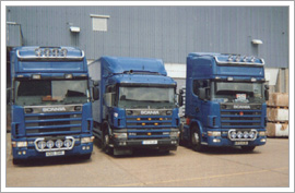 Three Archers Transport Road Haulage Lorries waiting to get loaded up with freight